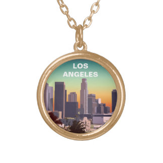 Downtown L.A. - Customizable Illustration Round Pendant Necklace