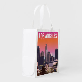 Downtown L.A. - Customizable Illustration Reusable Grocery Bags
