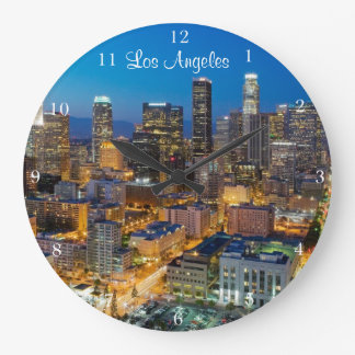 Downtown Los Angeles at Dusk Large Clock