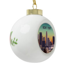 Downtown Los Angeles - Customizable Image Ceramic Ball Christmas Ornament