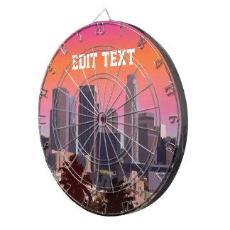 Downtown Los Angeles - Customizable Image Dartboard With Darts