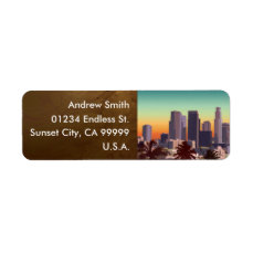 Downtown Los Angeles - Customizable Image Label
