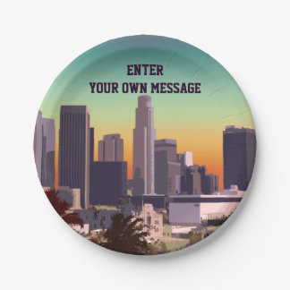 Downtown Los Angeles - Customizable Image Paper Plate