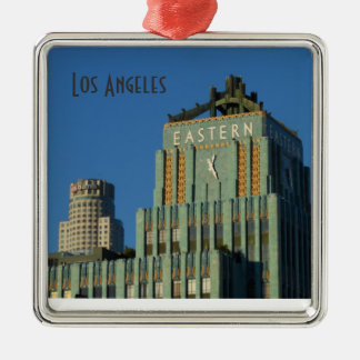 Downtown Los Angeles Square Metal Christmas Ornament