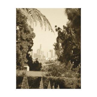 Downtown Los Angeles Retro Vintage Beige Photo Stretched Canvas Print