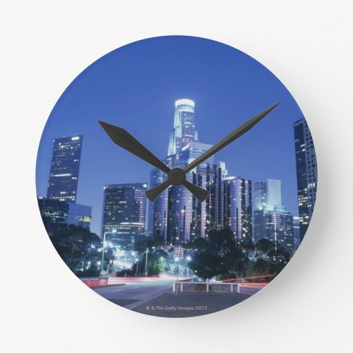 Downtown Los Angeles Round Wall Clocks