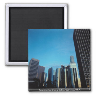 Downtown Los Angeles skyline, California, U.S.A. 2 Inch Square Magnet