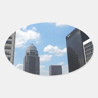 Downtown Louisville skyscrapers Oval Sticker