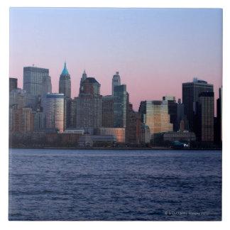 Downtown Manhattan at dusk 2 Ceramic Tiles