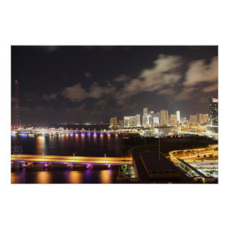 Downtown Miami by Night Poster