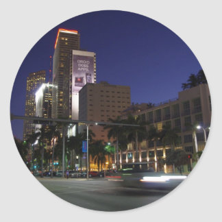 Downtown Miami by night Round Stickers