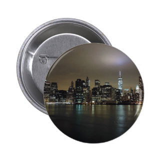 Downtown New York City at Night 2 Inch Round Button