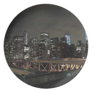 Downtown New York City at Night Melamine Plate