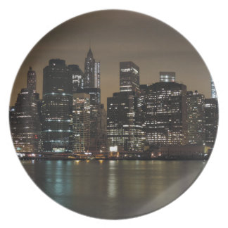 Downtown New York City at Night Plate