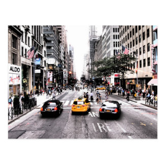 Downtown New York Taxi Cabs Postcard