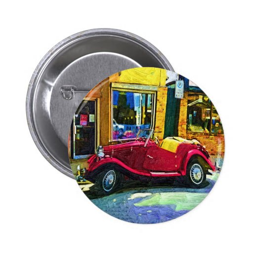 Downtown Oldie! Antique Red Classic Car Button