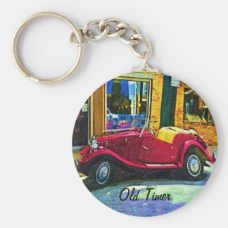 Downtown Oldie! Antique Red Classic Car Keychain