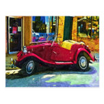 Downtown Oldie! Antique Red Classic Car Post Card