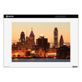 Downtown Philadelphia, Pennsylvania at sunset Skins For Laptops