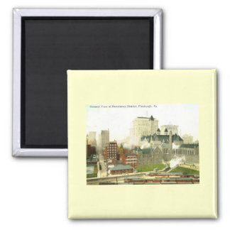 Downtown, Pittsburgh 1915 Vintage 2 Inch Square Magnet