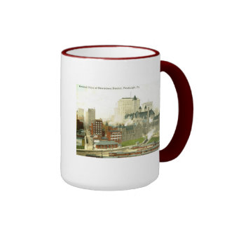 Downtown, Pittsburgh 1915 Vintage Ringer Coffee Mug