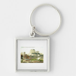 Downtown, Pittsburgh 1915 Vintage Silver-Colored Square Keychain