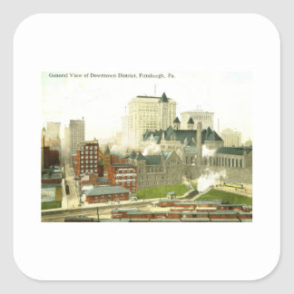 Downtown, Pittsburgh 1915 Vintage Square Sticker