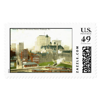 Downtown, Pittsburgh 1915 Vintage Stamps