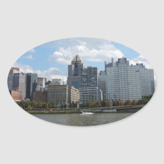 Downtown Pittsburgh Sklyine Oval Stickers
