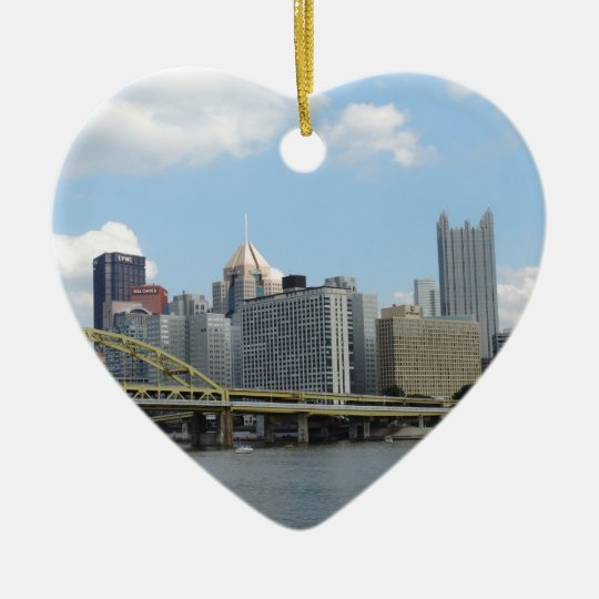 Downtown Pittsburgh Skyline Ceramic Ornament