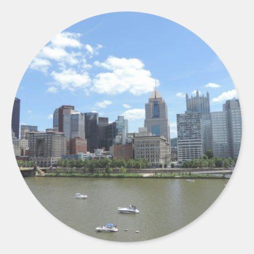 Downtown Pittsburgh Skyline Classic Round Sticker