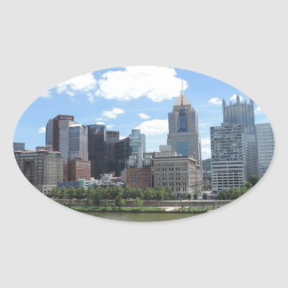 Downtown Pittsburgh Skyline Oval Stickers
