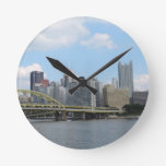 Downtown Pittsburgh Skyline Round Wall Clock