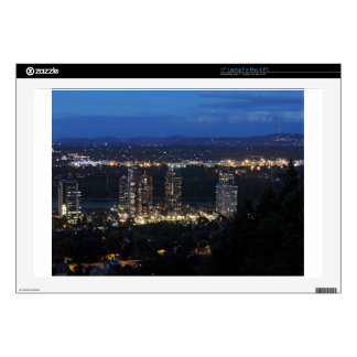 """Downtown Portland at Dusk Decal For 17"""" Laptop"""