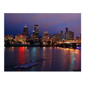 Downtown Portland at Night Postcard