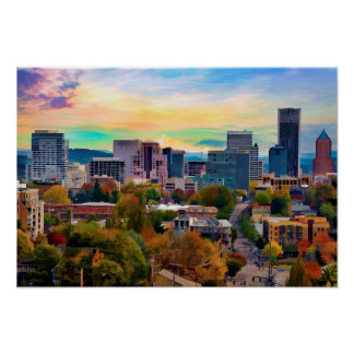 Downtown Portland Oregon Skyline at End of Day Poster