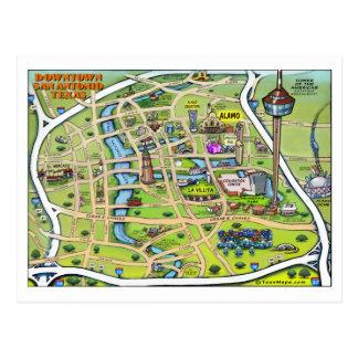 Downtown San Antonio Cartoon Map Postcard