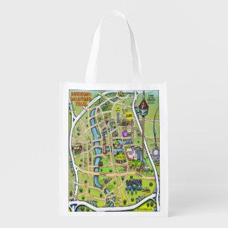 Downtown San Antonio Texas Cartoon Map Reusable Grocery Bag