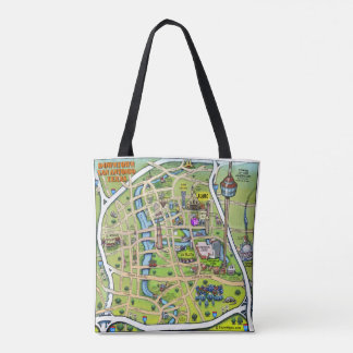 Downtown San Antonio Texas cartoon map Tote Bag