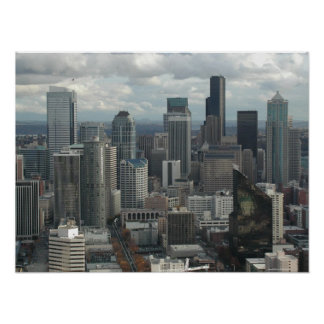 Downtown Seattle Aerial View Poster