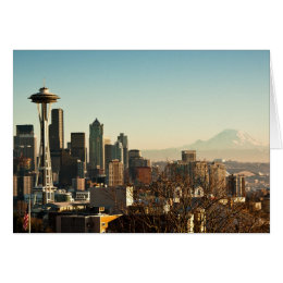 Downtown Seattle skyline and Space Needle Card