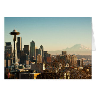 Downtown Seattle skyline and Space Needle Greeting Card