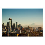 Downtown Seattle skyline and Space Needle Poster