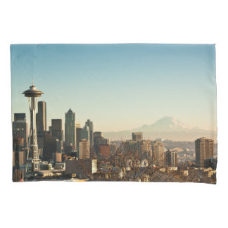 Downtown Seattle skyline and Space Needle Pillowcase
