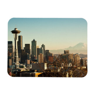 Downtown Seattle skyline and Space Needle Rectangular Photo Magnet