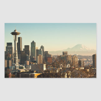 Downtown Seattle skyline and Space Needle Rectangular Sticker