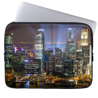 Downtown Singapore city at night Laptop Sleeve