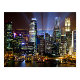 Downtown Singapore city at night Postcard