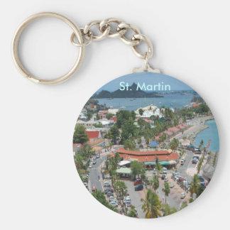 Downtown St. Martin Basic Round Button Keychain