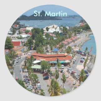 Downtown St. Martin Classic Round Sticker